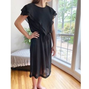 Vintage Lightweight Sheer Belted Midi Dress Black